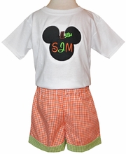 Boy Mouse Pumpkin Monogram Halloween, Thanksgiving Outfit
