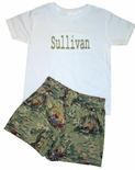 Custom Monogrammed Boy's Shirt And Tom Sawyer Shorts.