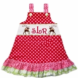 Girl's Rudolph, Reindeer and Monogram Christmas Dress