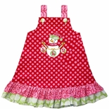 Girl's Monogrammed Snowman Christmas Dress.