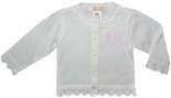Girl's Personalized Monogrammable Sweater in White or Pink by Petit Ami