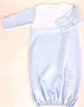 Paty Inc. Baby Boy's Blue with Monogrammable White Bodice Sleeper Gown