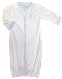 Paty Inc. Baby Boy's White with Blue Convertible Sleeper Gown and Romper