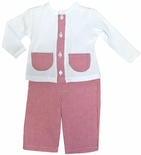 Paty Inc. Boy's Red Gingham Pocket Top and Pants Outfit