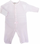 Paty Inc. Pink and White Infant Girl's Convertible Gown and Romper