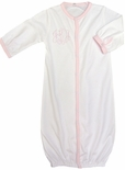 Paty Inc. White Convertible Girl's Baby Gown and Romper Trimmed in Pink