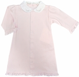 Paty Inc. Pink Embroidered Day Gown for Baby Girls