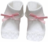 Baby Girl Booties in Pink with Pink Satin Ribbon By Paty, Inc.