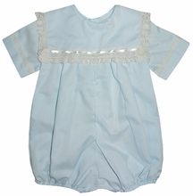 Heirloom Boy's Square Collar Bubble, Bubble or Blouse over Shorts with Horizontal Lace and Small Satin Ribbon