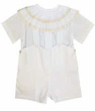 PRE-ORDER FOR EASTER<br>Heirloom Boy's Pleated Collar Bubble, Button On or Blouse over Shorts