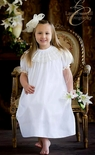 Heirloom Flower Girl Portrait Pleated Collar Dress, White or Ecru