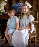 Heirloom Flower Girl, Portrait Round Collar Dress with Ribbon & Lace