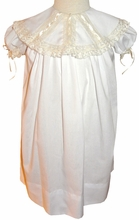 Girl's Heirloom Round Collar Dress with White or Ecru Vertical Lace and Ribbon