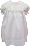 Heirloom Flower Girl, Portrait Dress with White or Ecru Ribbon Collar