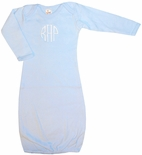 Personalized Baby Boy Gown, Sleeper in Blue Monogrammed in Various Fonts and Colors