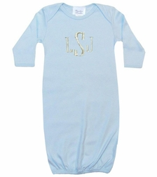 Personalized Baby Boy Gown Sleeper In Blue Monogrammed In