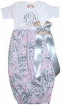 Personalized Baby Infant Girl's Gown in Pink Floral Damask