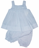Baby Girl's Embroidered Sundress And Bloomers By Petit Ami.