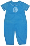 Petit Ami Blue Monogrammable Romper Longall for Boys