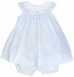 Petit Ami Blue Sleeveless Dress and Bloomers with Floral Scallop Collar