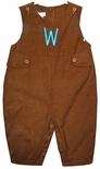Petit Ami Boy's Brown Corduroy Monogrammed Longall