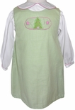 Baby Christmas Dress with Christmas Tree & Monogrammed Tab