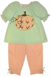 Petit Ami Girl's Pumpkin Swing Top and Pants Outfit