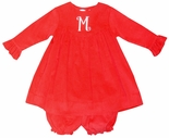 Petit Ami Monogrammable Red Corduroy Dress and Bloomers