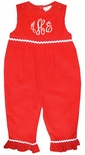 Petit Ami Monogrammable Red Corduroy Long Bubble for Girls