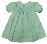 Girl's Monogrammable Green Gingham Float Dress and Bloomers