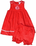 Petit Ami Light Pink or Red Corduroy Monogrammable Ric Rac Dress