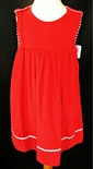 Petit Ami Red Cordury Dress with White Ric Rac