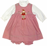 Petit Ami Red Gingham Elf Girl's Dress with Bloomers