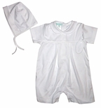 Embroidered Cross Christening Romper and Hat for Baby Boys.