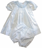 Petit Ami Girl's Smocked Blue Dress And Bloomers.