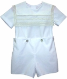 Pieces By Tam Heirloom Ring Bearer Boys Lace Square Collar Outfit