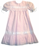 Heirloom Flower Girl Portrait Dress in Pink, Blue, with White Satin Ribbon.