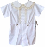 Heirloom Boy's Vertical lace Peter Pan Collar Button On By Pieces By Tam.