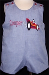 Custom Made Boy's Racecar And Monogram Name Outfit