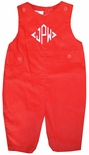 Petit Ami Red Corduroy Tab Monogrammable Longall for Boys