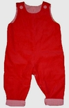 Boy's Monogrammed Custom Red Corduroy with Gingham Cuffs Longall.