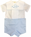 Rosalina Boy's Button On with White Blouse and Blue Shorts