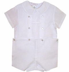 Rosalina Boy S Embroidered Christening Outfit Romper With