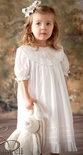 Girl's Heirloom Dress in White With Ecru Embroidery by Rosalina