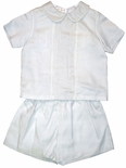 Boy's Linen Outfit in White with Embroidery By Rosalina
