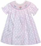 Rosalina Smocked Birthday Dress in Pink and White Dots