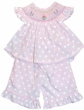 Girl's Smocked Birthday Outfit in Pink and White Dots by Rosalina