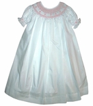 Girl's Smocked Dress in White with Pink Pearls By Royal Child.