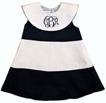 Girl's Personalized Sailor Portrait Dress in Navy & White by Jack & Teddy