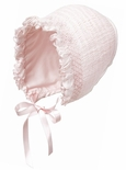 Baby Girl's Smocked Bonnet in White, Pink, Ecru By Sarah Louise.